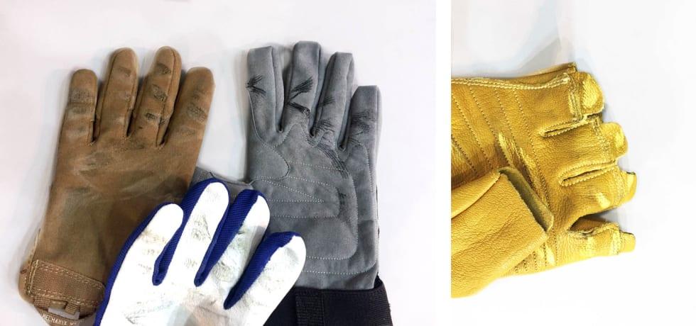 Fingerbruk: Av slitasjemerkene ser man tydelig hvor hansken må tåle en trøkk. På fingerhansken til høyre var det like før vi satt igjen med brannsår og blemmer. Foto: Dag Hagen