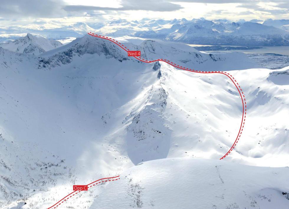 Dudalstinden fra nordvest. Foto: Rune Dahl / Toppturer rundt Narvik.