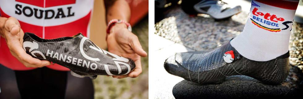 KARBONSKO: Fordi an syntes vanlige sykkelsko var tunge og upraktiske, begynte han å lage sine egne sko i karbon. Hjemme i Tsjekkia har han rundt 120 ulike modeller av skoene. Foto: Marcus Liebold/ Cor Vos.