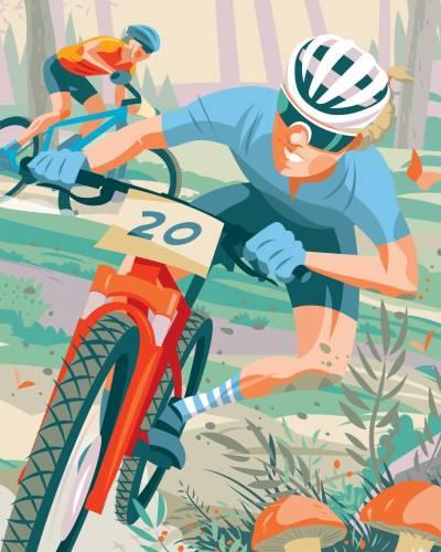 Grafisk profil på Terrengsykkelrittet, lagd av Simon Scarsbrook