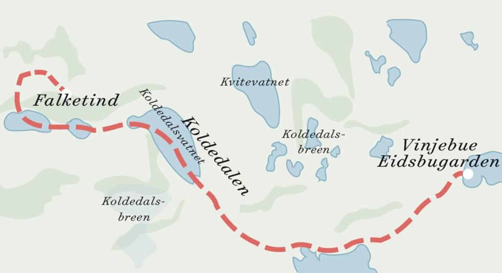 Falketind med rute