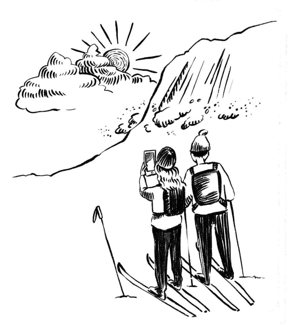 FELLES ENIGHET: Birgit og Viktor var enige om at selv om de nå hadde skredutstyr, måtte de ikke ta noen større sjanser for det. Illustrasjon: Anne Vollaug