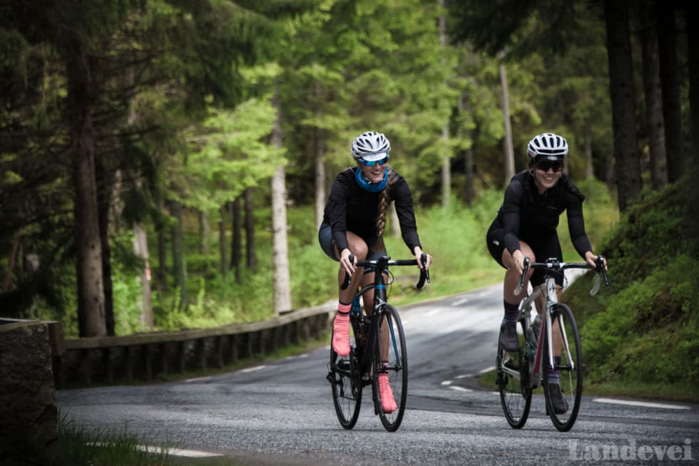 TRIVELIG: Kaya og Mari koser seg glugg ihjel på den gamle grenseveien mellom Norge og Sverige.