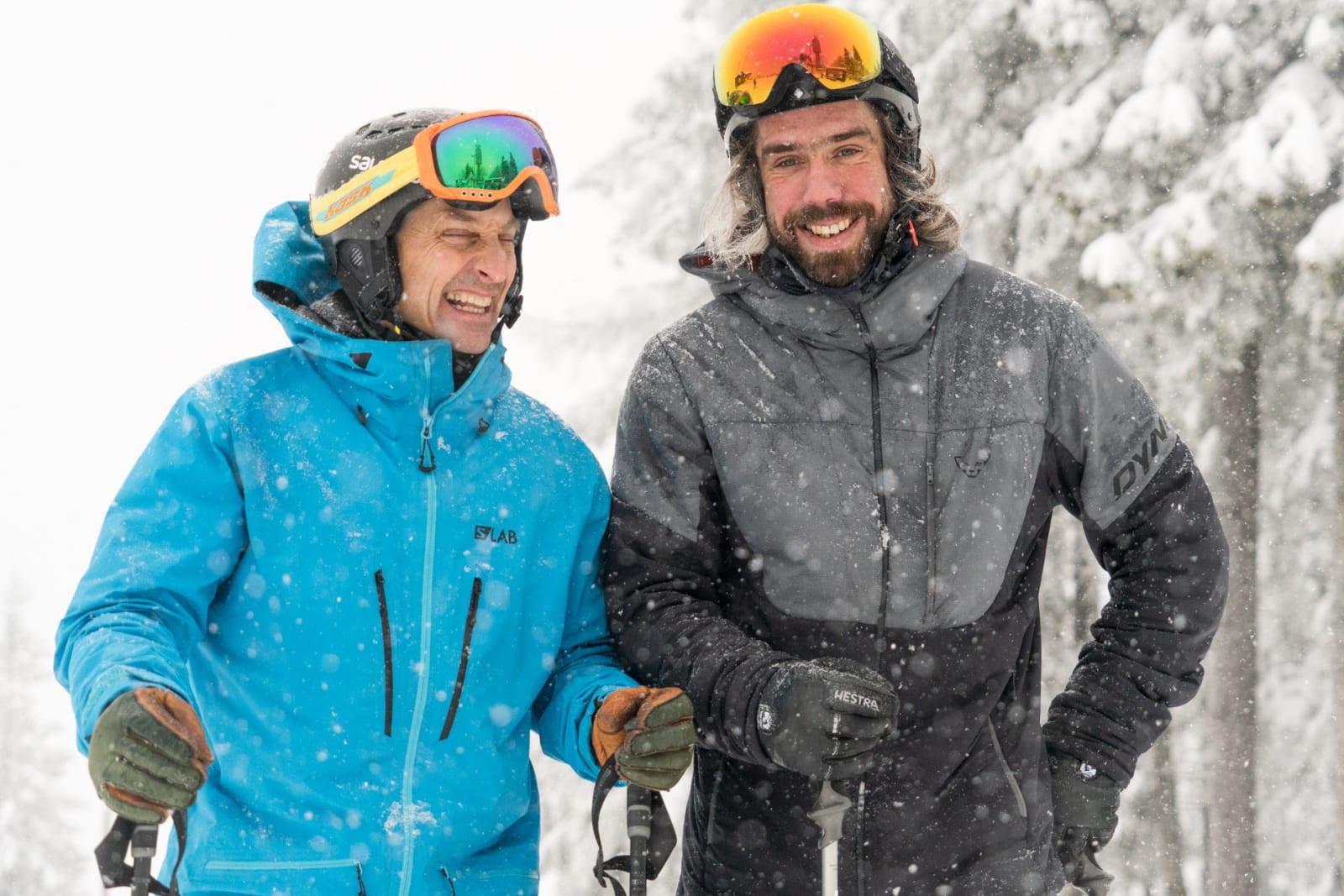 STARSTRUCK: Eirik Finseth (t.h.) innrømmer lett at han var litt «starstruck» da han skulle møte et av sine største forbilder, Kaj Zackrisson - på ski i «Oslo-bøgda». Bilde: Christian Nerdrum