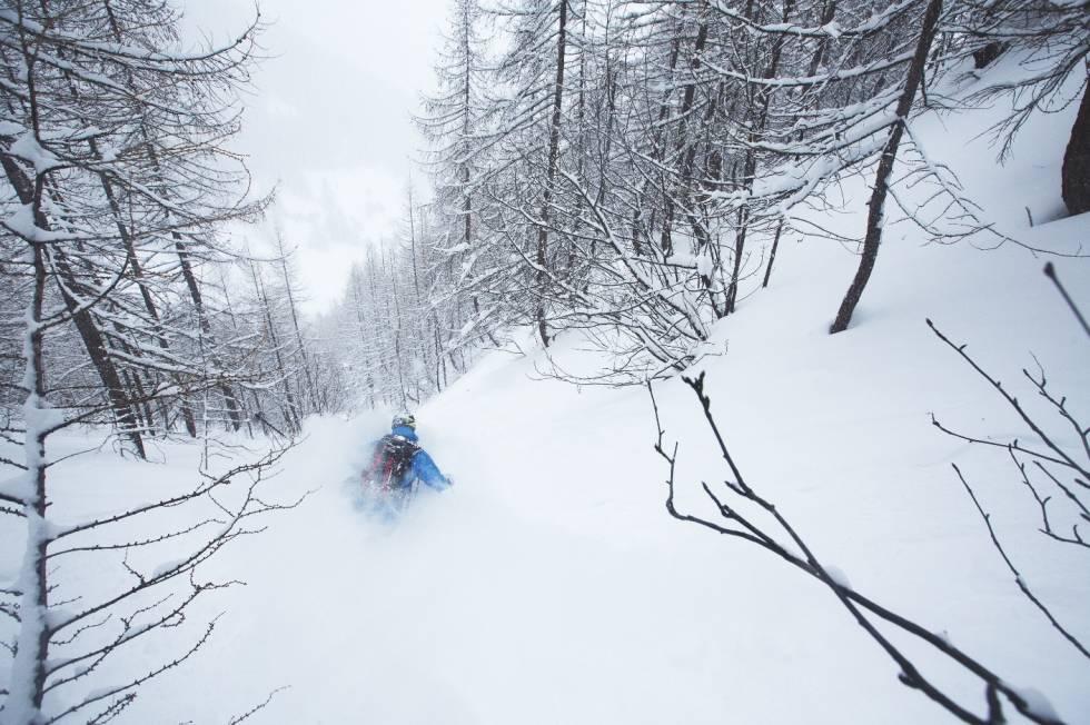 1000 METER: Når forholdene klaffer er det få skogsopplevelser som kan måle seg med de du får i Serre Chevalier. Henning S. Skjetne koser seg med 1000 høydemeters kjøring mellom trærne.