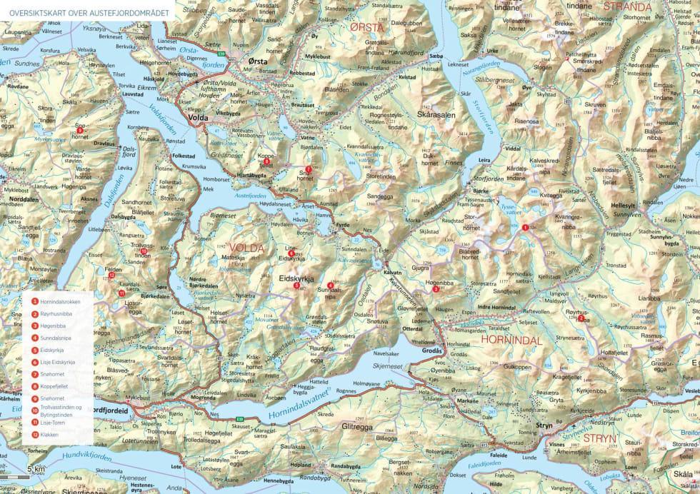 Oversiktskart over Austefjordområdet.