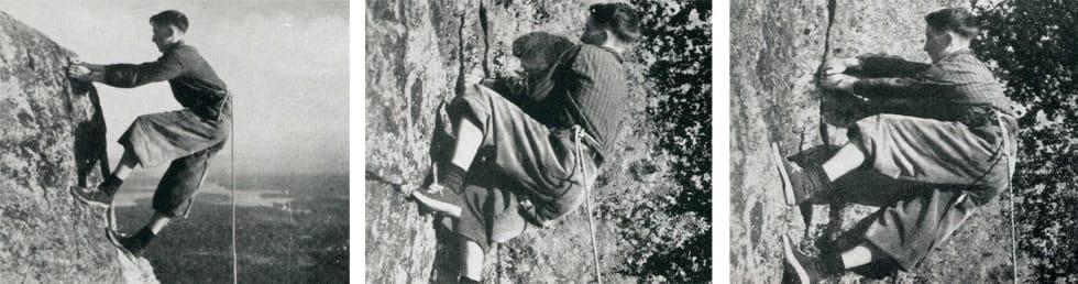 Bevegelser: Einar Hoff Hansen demonstrerer klatreteknikk. Foto fra Friluftsboka (1941). Ifølge billedteksten i Friluftsboka viste foto 1 sva-teknikk, mens foto 2 og 3 viste «crack-teknikk».