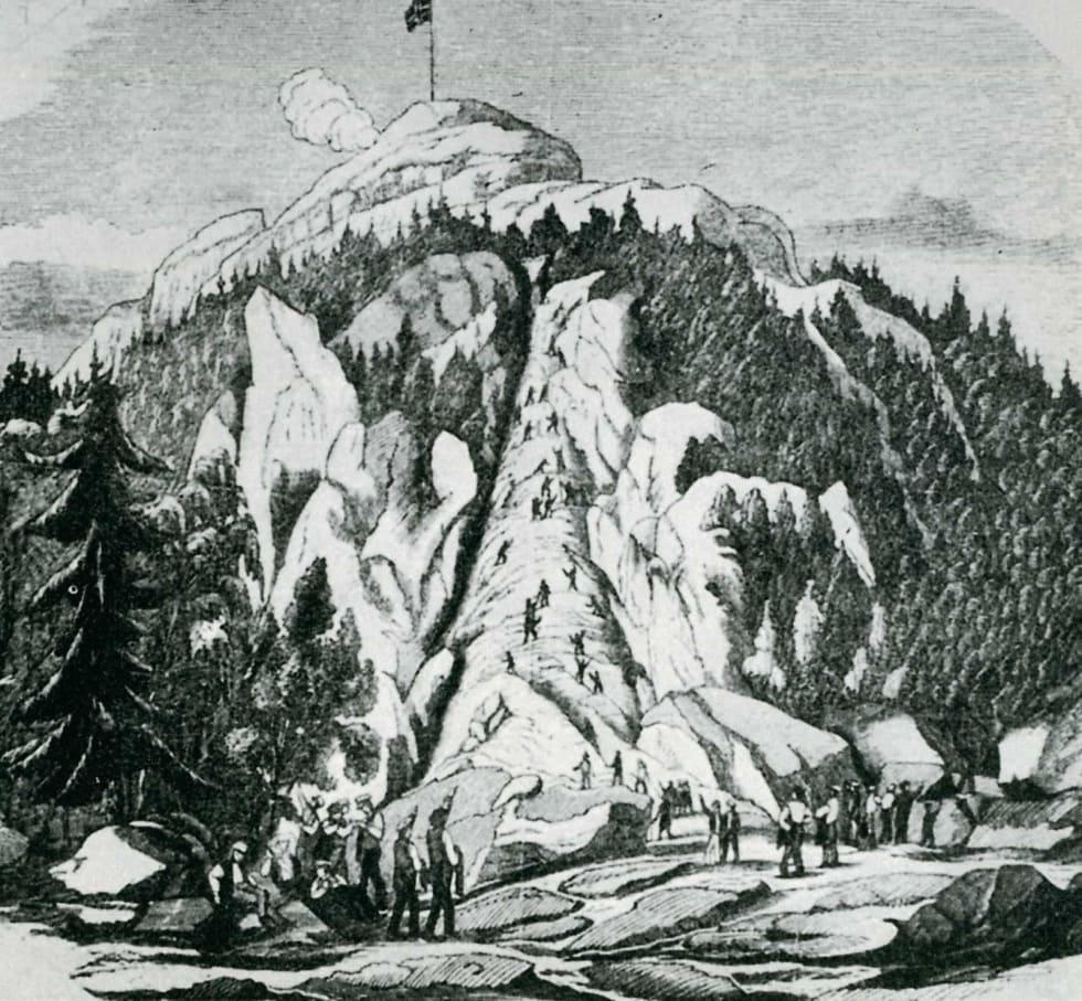 Gamle dager: Uppsalastudentene bestiger Kolsås 27. juni 1852. Tegning fra Illustreret Nyhedsblad nr. 46, 1852.