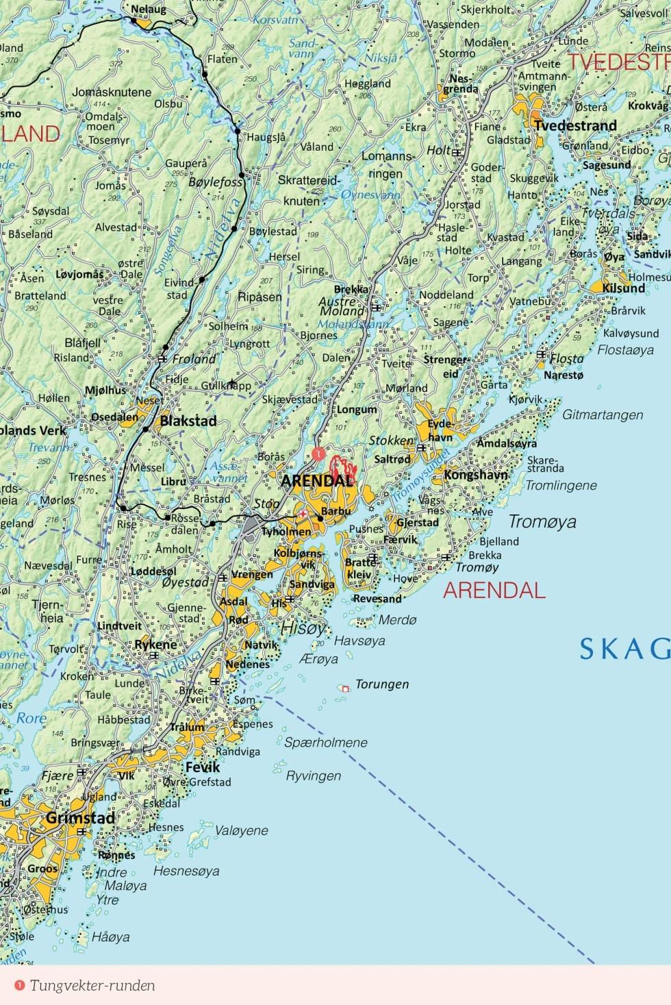 Oversiktskart over Arendal med inntegnet rute. Fra Stisykling i Norge.