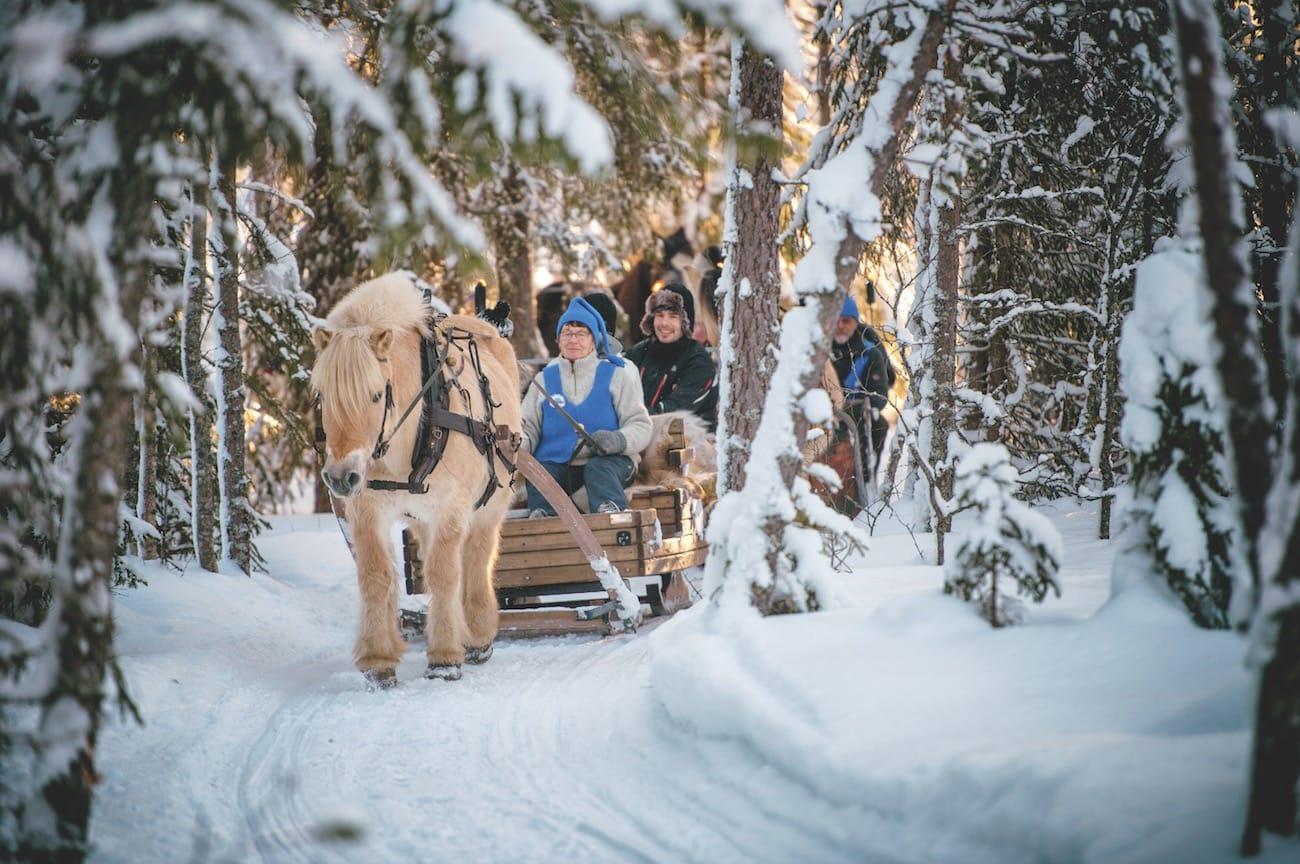 FRYSIL: 18 minusgrader er bitende kaldt i skibakken. Men dypt inne i Trysil-skogen, godt pakket inn i reinskinn og med lyden av dombjeller er det ingen som lar seg merke av kulda. Foto: Hans Martin Nysæter
