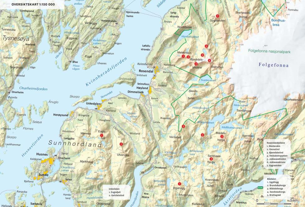 Oversiktsktskart over Rosendal. Fra Toppturer i Sørvest.