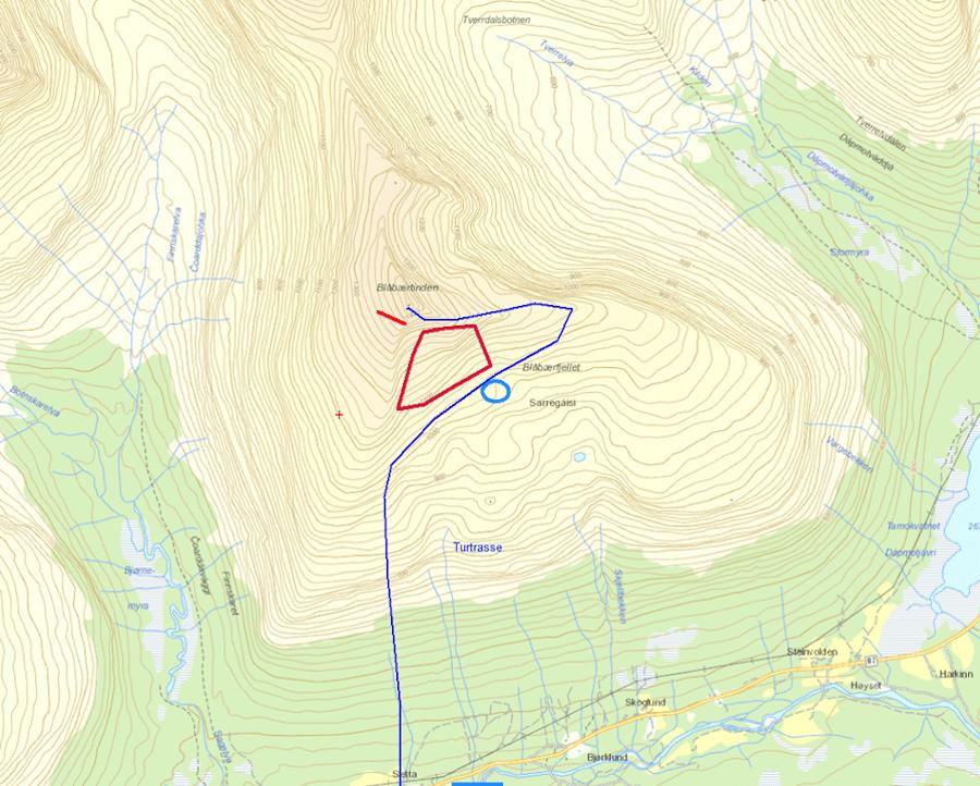 Kartet viser Blåbærfjellet i Tamokdalen. Skredområdet markert i rødt. Normalrute til toppen markert i blått. Illustrasjon: Politiet