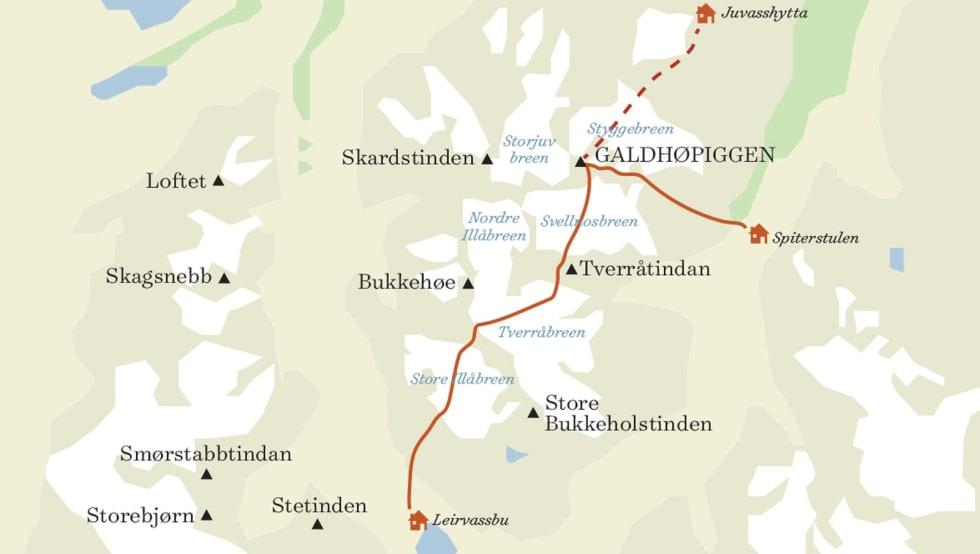 RUTA: På Jotunheimen Haute Route, starter turen til Galdhøpiggen fra Spiterstulen, men vi begynte på Juvasshytta. Fra Galdhøpiggen ble det fire fine nedkjøringer før vi endte opp i Leirdalen.