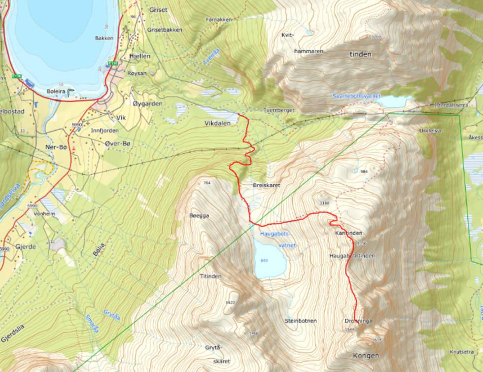 Den røde streken viser ruta fra Vik i Innfjorden og opp på Dronninga - via Karitind.