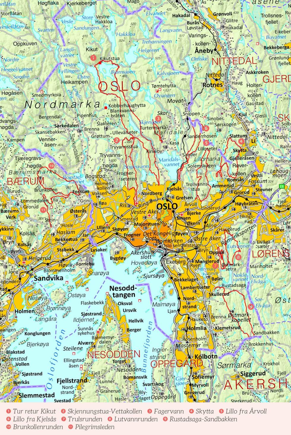 Oversiktskart over Oslo med inntegnet rute. Fra Stisykling i Norge