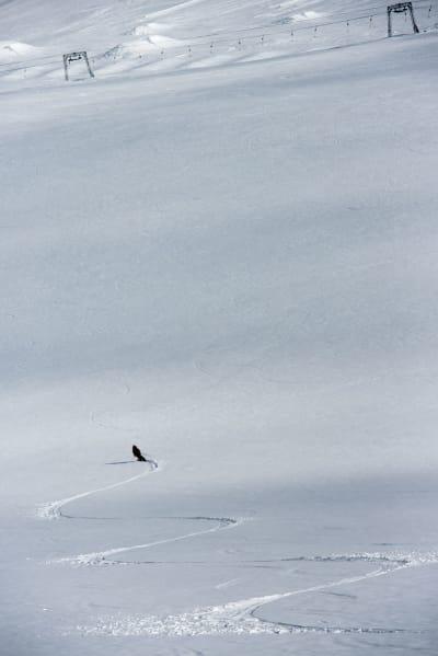 FINT FØRE: UTE-redaktør Gunhild Aaslie Soldal kjører deilig sløsj i skisenteret. Foto: Martin Innerdal Dalen