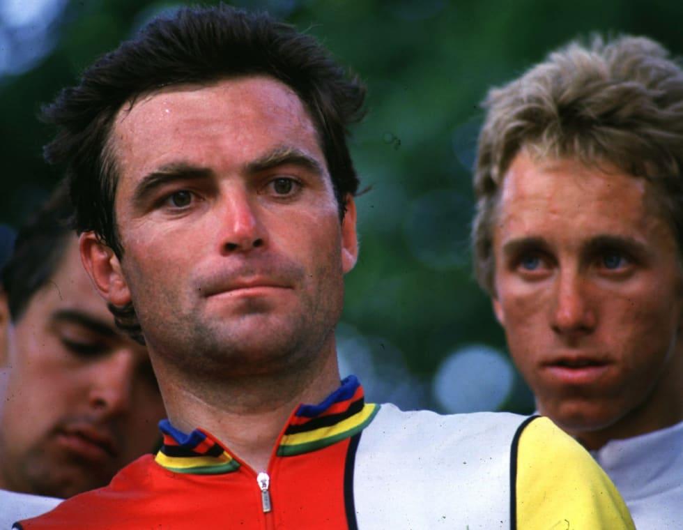 HAT: Greg Lemond (bak) var ikke videre populær hos Bernard Hinault. Pedalene deres derimot, ble raskt populære. Foto: Cor Vos.