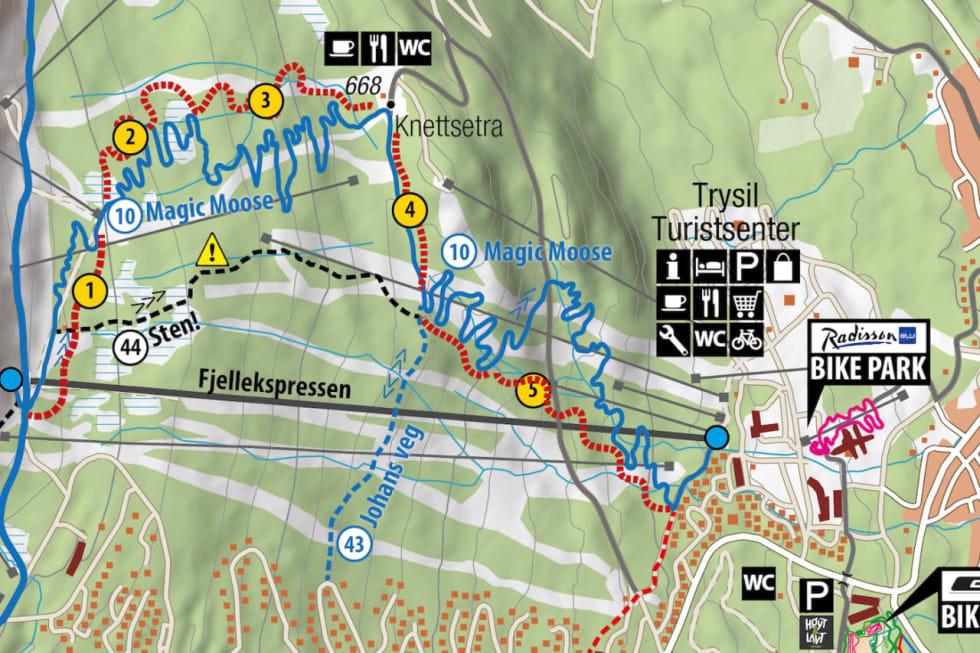 Den røde traséen på kartet viser hvor den nye 6km lange heisbaserte stien vil komme.