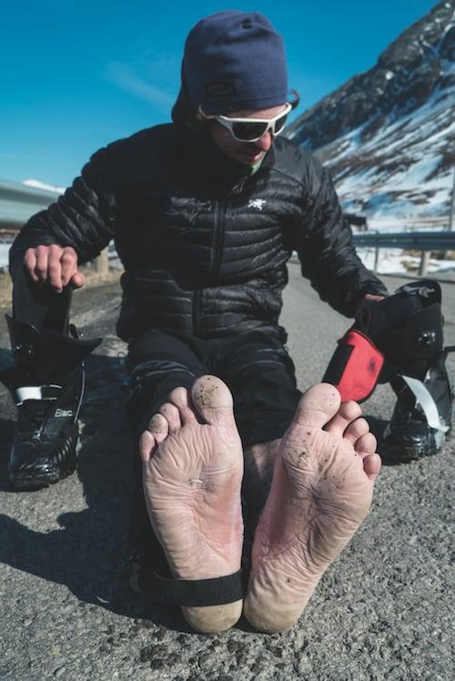 FOTSVETTEMARINERTE TÆR: De håndlagde karbonstøvlene er det beste penger kan kjøpe til denne typen skikjøring, men luftehull er ikke inkludert i prisen.