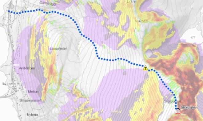 KAST PÅ STORGALTEN: Slik ser fjellet på hovedbildet i denne artikkelen ut i kartet med KAST integrert.