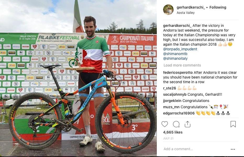 ITALIENSK: Gerhard Kerschbaumer sykler på det, i Norge ukjente merket Torpada. Faksimile fra Kerschbaumers Instagram