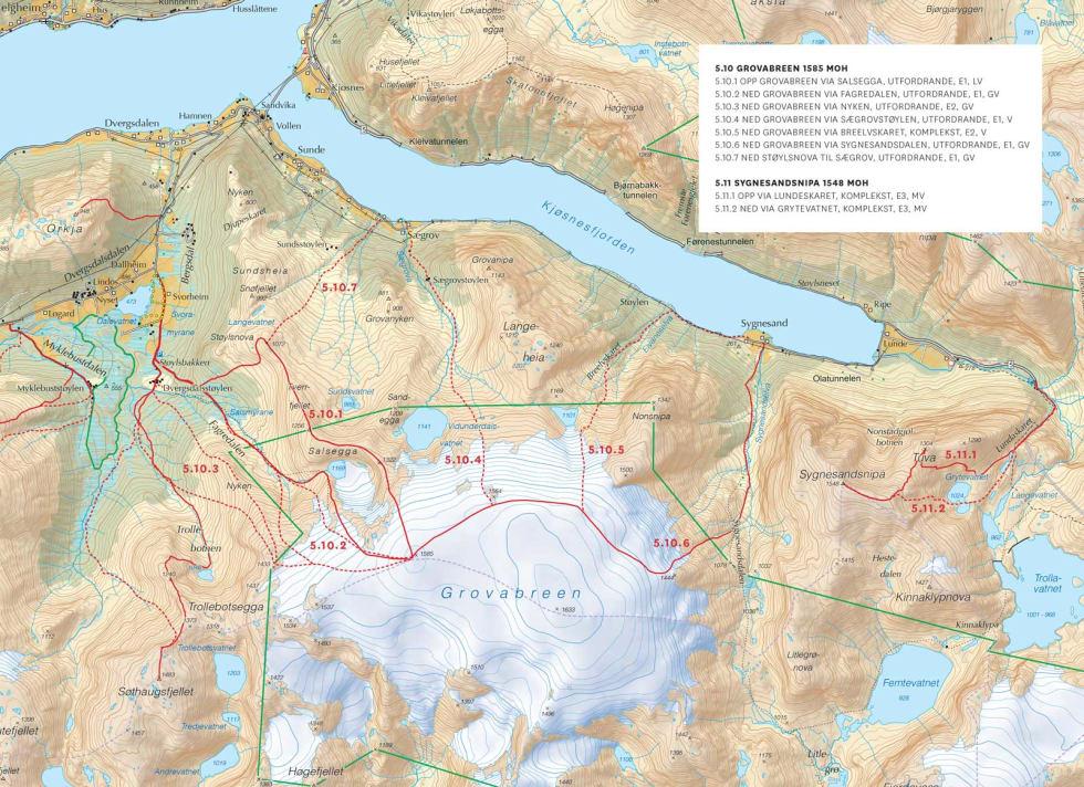 Oversiktskart over Sørsida av Jølstravatnet og Kjønesfjorden. Frå Toppturar i Sunnfjord.
