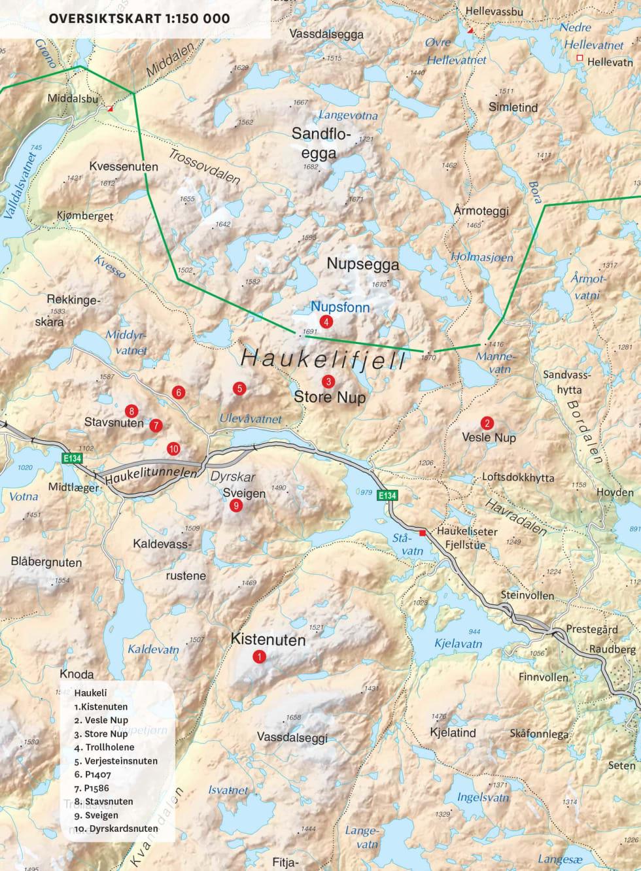 Oversiktskart over Haukeli. Fra Toppturer i Sørvest.