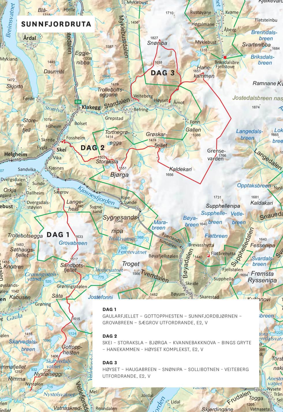 Oversiktskart over Sunnfjordrute. Frå Toppturar i Sunnfjord