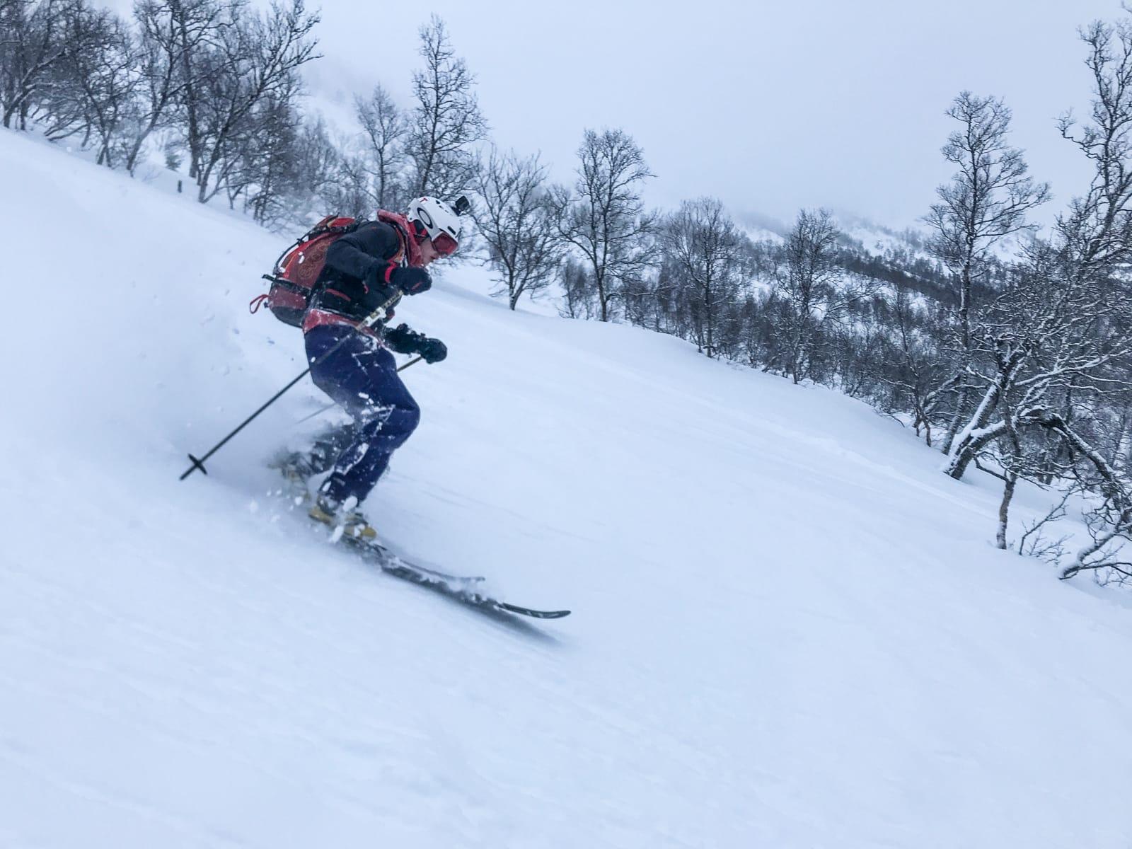FRI SJEL: Skipatruljens guide i Sunnfjord og Dvergsdalsdalen Håvard Sandal Høyvik (19) snuste seg frem til snø det virkelig var verdt å skrive hjem om. Bilde: Christian Nerdrum