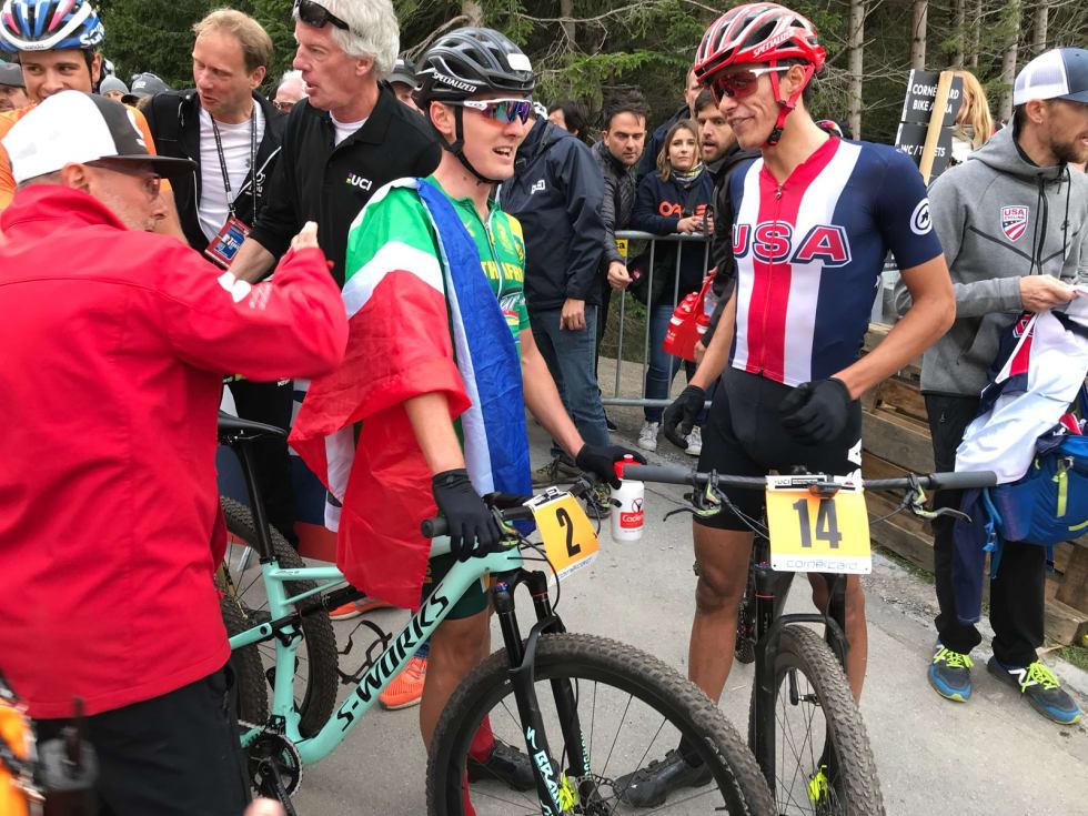 DOBBELT: I guttas U23-klasse ble det dessverre ikke medalje på Petter Fagerhaug. Alan Hatherly og Christopher Blevins tok gull og sølv. Foto: UCI