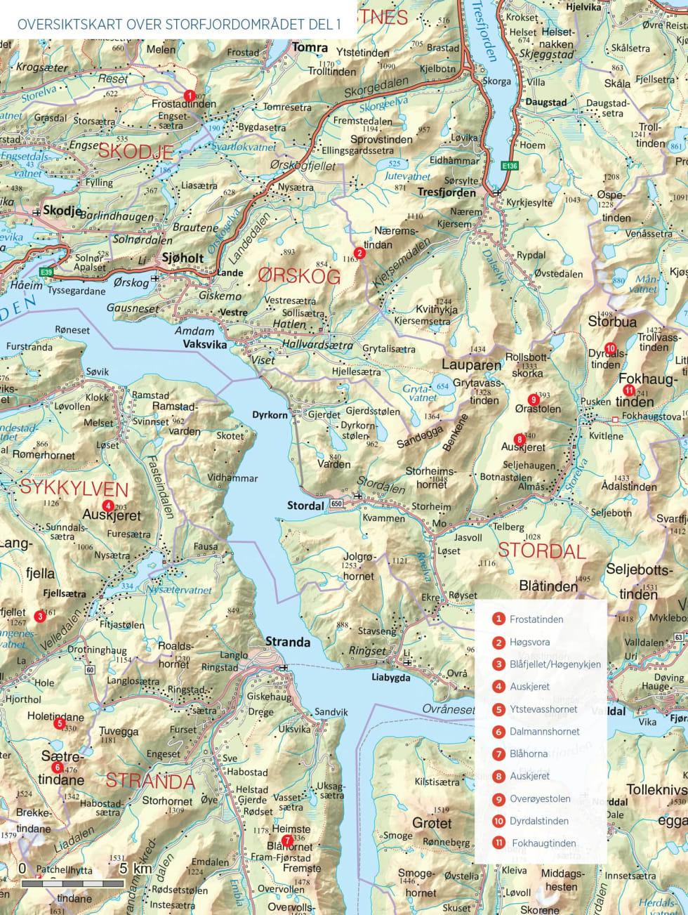 Oversiktskart over Storfjordområdet del 1.
