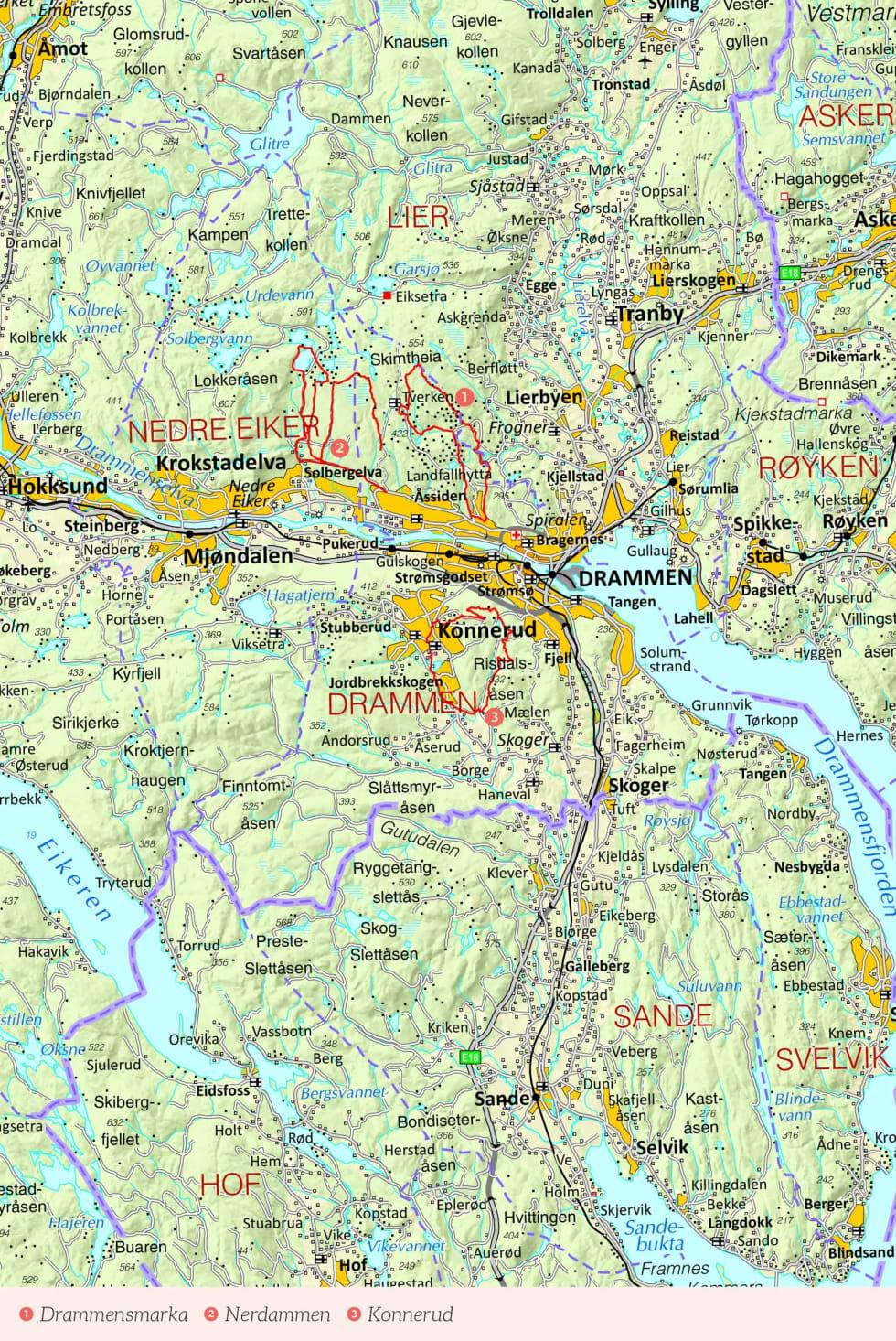 Oversiktskart over Drammen med inntegnet rute. Fra Stisykling i Norge.