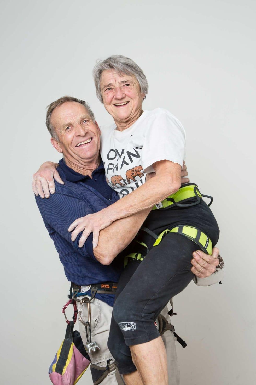 Styrketrening: Odd og Rotraut Eliassen er ekteparet i gjengen. De har  klatret sammen i 55 år og vært et par i 53.