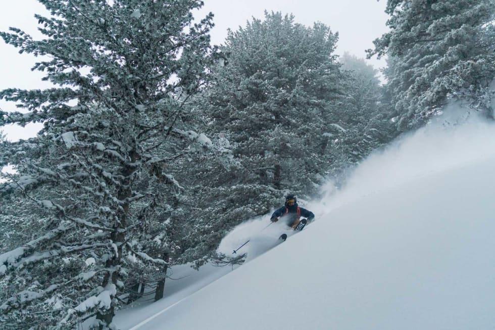 SNOW SENSE: Det er viktig å kjenne på snøen. Erling tar en smak.