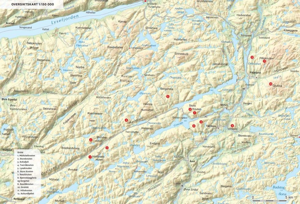 Oversiktskart over Sirdal. Fra Toppturer i Sørvest.