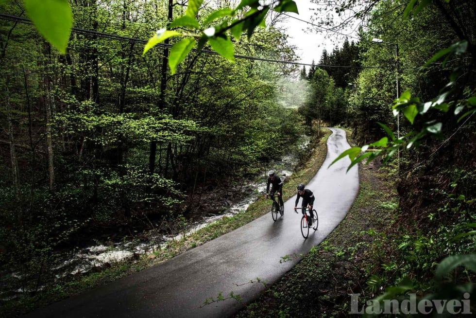 ALENE PÅ VEIEN: Den første delen av klatringen til Sollihøgda går på sykkelvei.