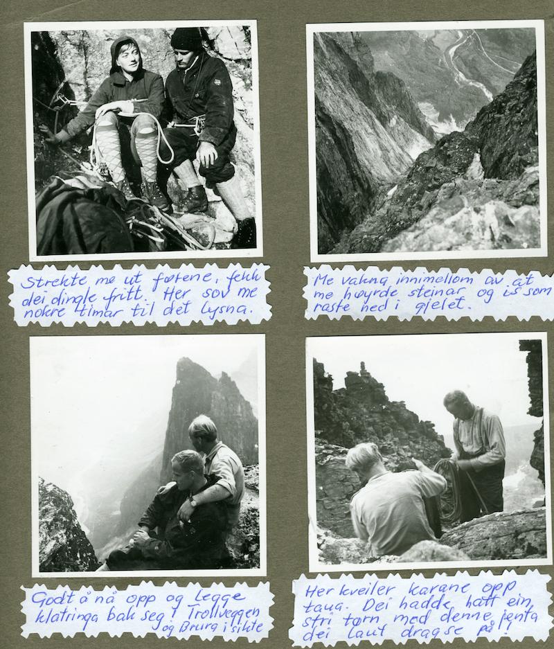 Fiva-ruta. Fra Gerd Fosse Hovdens album. Gerd var en av de første norske kvinnene som ikke nøyde seg med å gå som toer i tauet, og har vært en ivrig forløper for senere Møre-kvinner, som Ragnhild Amundsen, Anne Grete Nebell og Berit Skjevling.