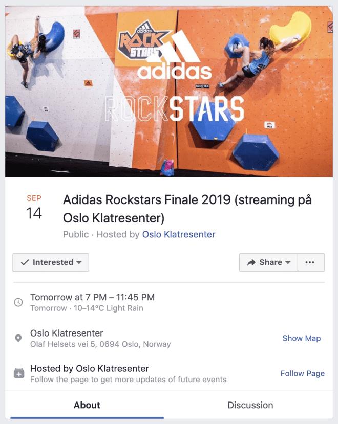 Skjermdump Oslo Klatresenters arrangement på Facebook.