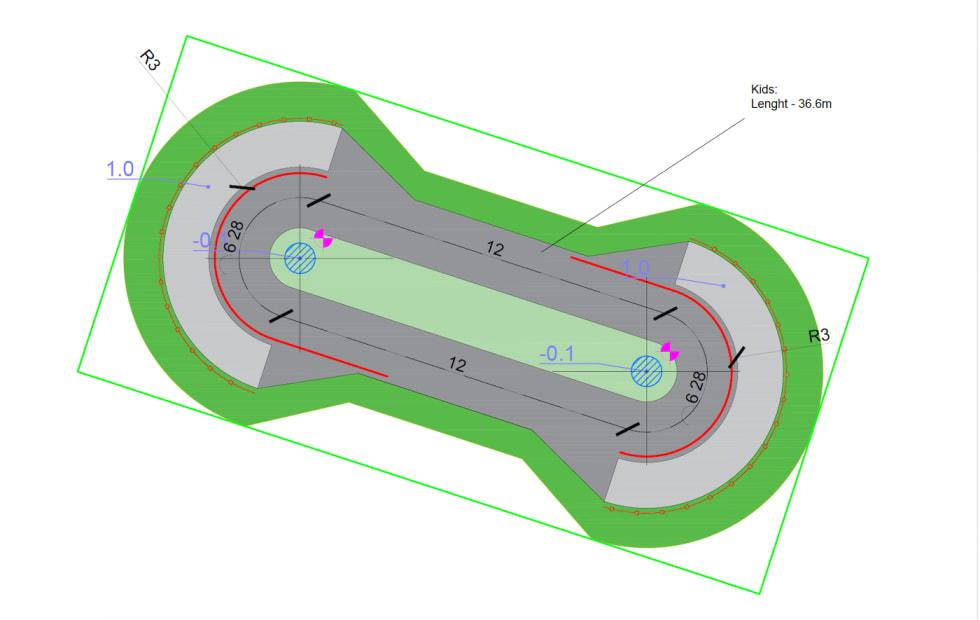 Velosolutions forslag til barnebanen i Blåbærhaugen sykkelpark. Illustrasjon: Velosolutions