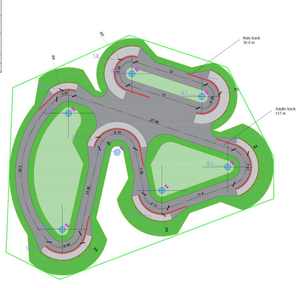 Velosolutions forslag til barne- og medium pumptrack i Blåbærhaugen sykkelpark. Illustrasjon: Velosolutions