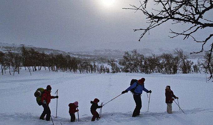 Lang, lang rekke på Tyin-Filefjell i februar. Foto: Jørn H. Moen