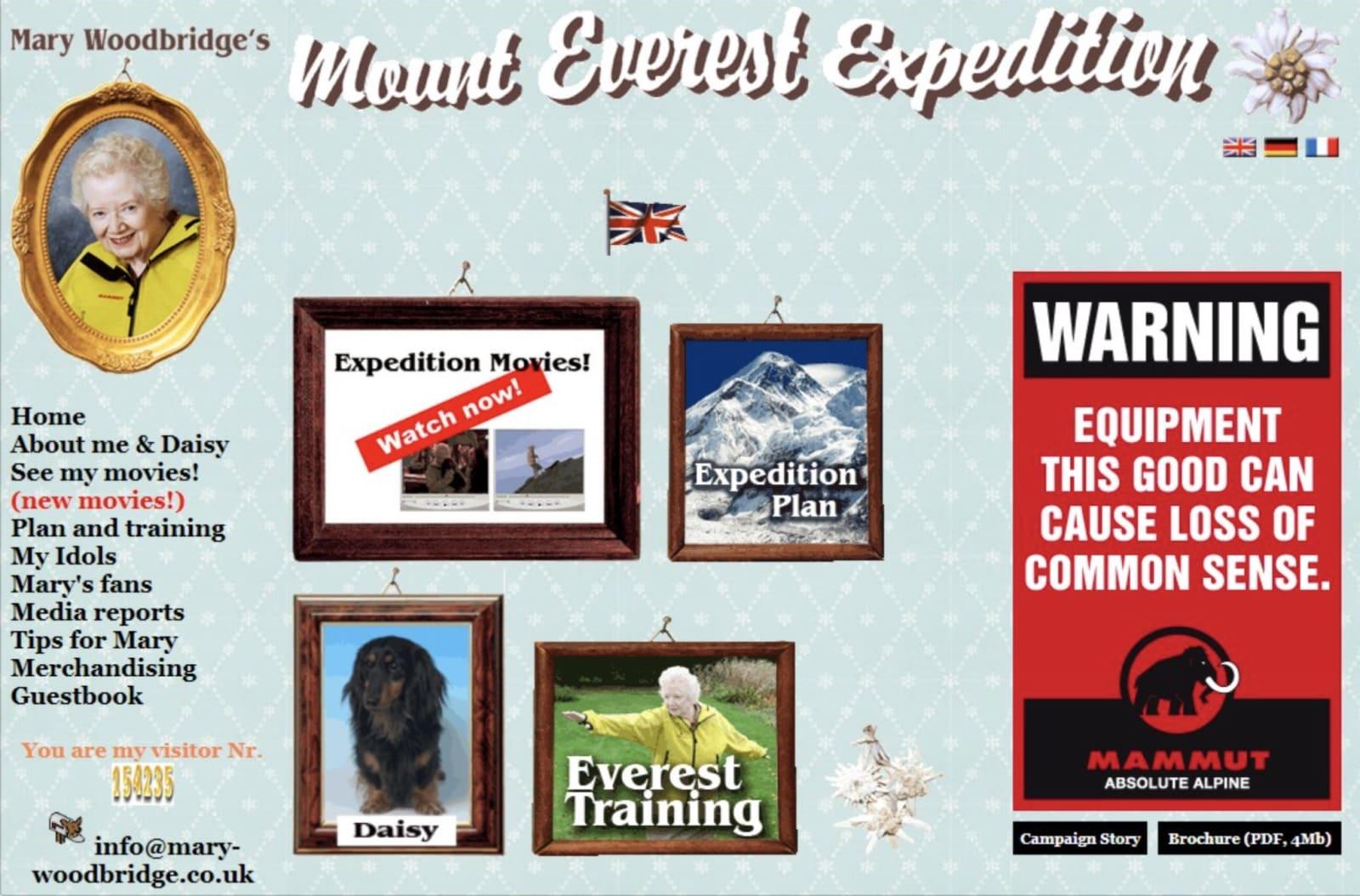 Reklamestuntet til Mammut, da de lot som en 82 år gammel dame skulle på Mount Everest.