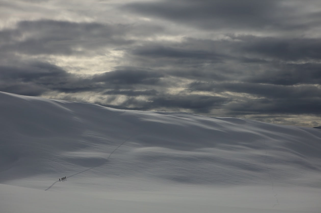 I SAMLET TROPP: Siste oppstigning mot Steinberget, før turen avsluttes på tunet foran Romsdal Lodge, der Bjørn har ryddet en liten, hemmelig trasé. Foto: Matti Bernitz Pedersen