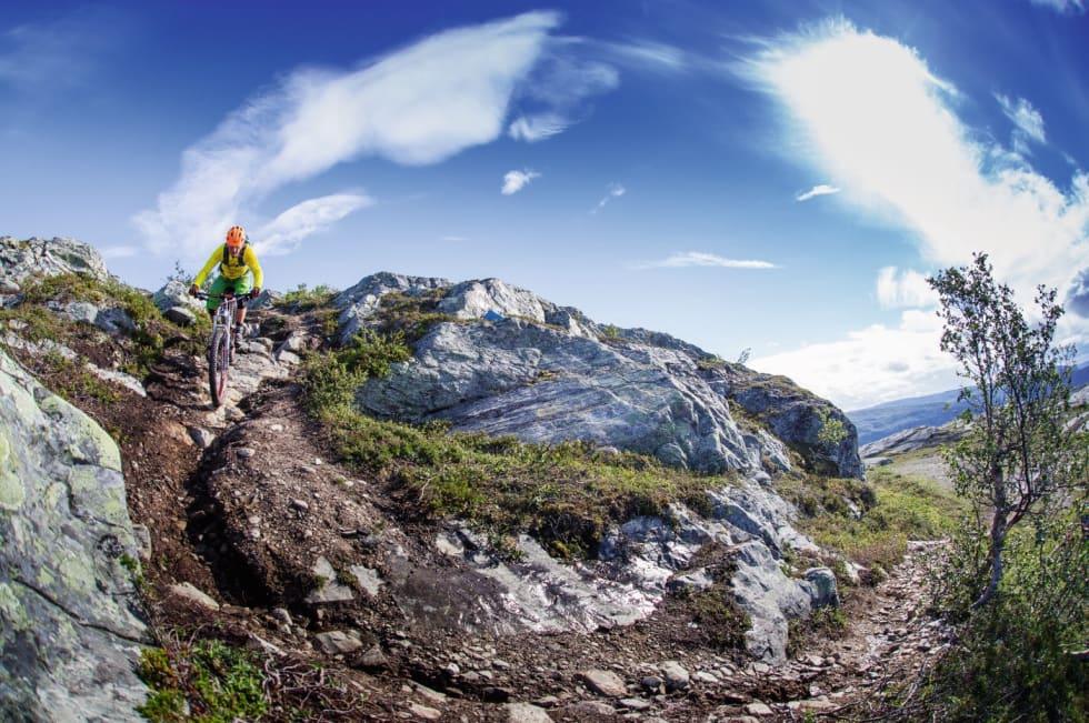 HØYFJELLSSTI: Bjørn Michaelsen på vei ned fra Borras, en av hans favoritturer i Alta.