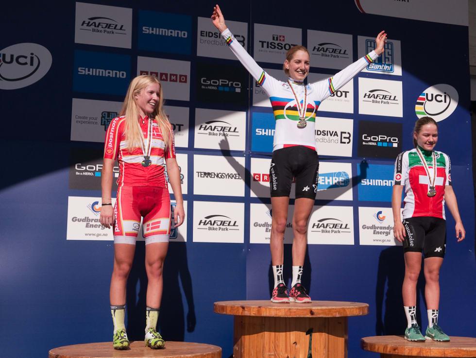 PALLEN: Malene Degn sølv, Nicole Koller gull, Sina Frei bronse.