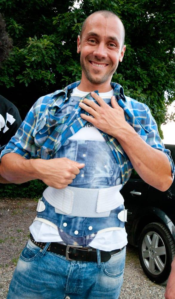 SKINNE: Med glassfiberskinnen på plass deltok Barel på Canyons sykkellansering i Vosges i juli. Foto: Øyvind Aas