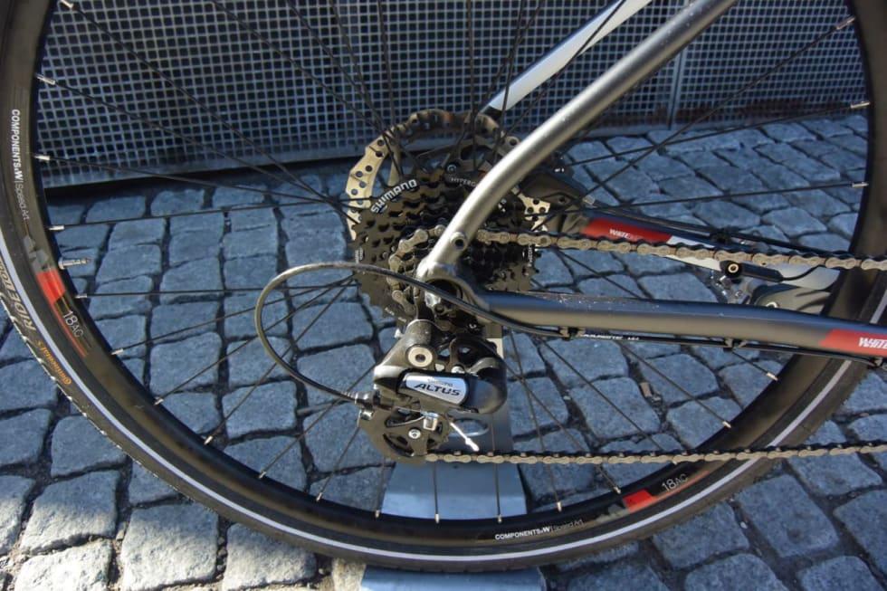 ENKELT: Girsystemet på White-sykkelen er av det enkle og rimelige slaget.