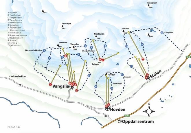 NY HEIS I VANGSLIA: heisen er planlagt i Vangslia, først langs den eksisterende stolheisen (G) og videre til topps på Vangshøa.