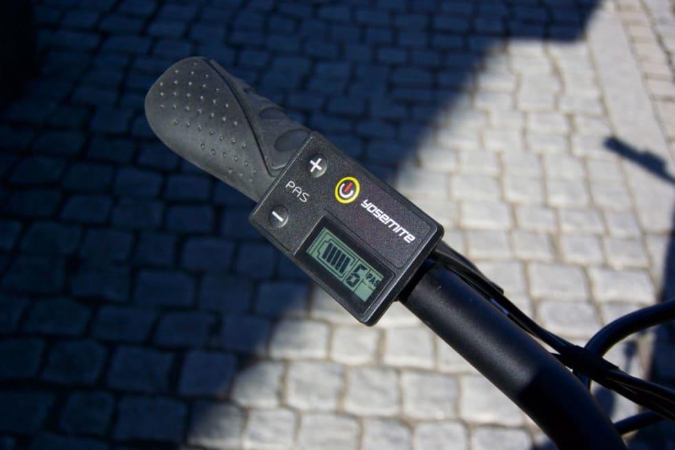 LITE INFO: Displayet på Biltema-sykkelen viser kun batteristatus og motor-nivå.