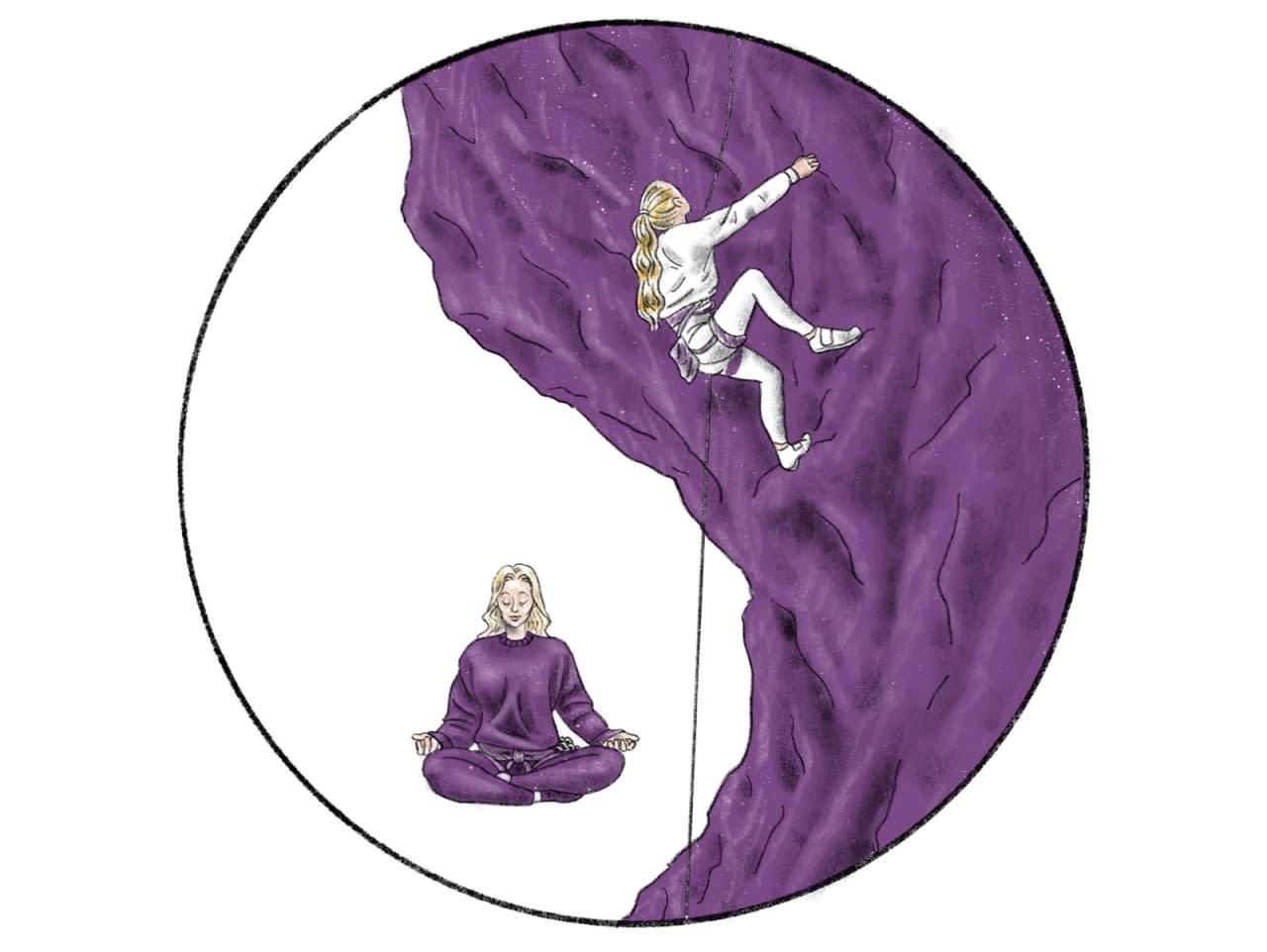 EN INDRE REISE: En klatrelangtur inkluderer også en kamp med deg selv. Denne kan du begynne lenge før selve turen starter. Illustrasjon: Didrik Magnus-Andresen